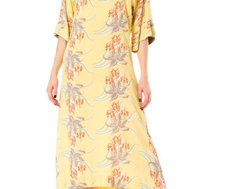 Vintage 1940s Aloha Hawaii Tropical Sheer Beach Maxi Dress  Size: S/M/L