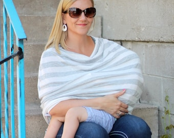 Gray and White Stripes Hold Me Close Nursing Poncho and Stretchy Carseat Cover all in one - Full Coverage Nursing Cover