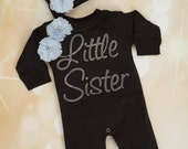 Little Sister Romper Baby Girls Cotton Romper Black Romper with Littel Sister in Rhinestones wiith matching Hat