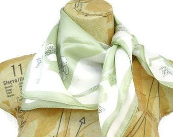 Vintage Scarf Paoli, 1960s Fashion Accessories, Designer, Green White Summer