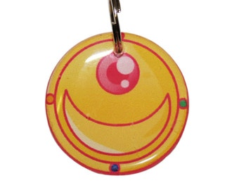 Custom Pet ID Tag - Sailor Moon Pretty Guardian Brooch - Cosplay Cat or Dog - 3 Tag Sizes in Metal or Resin Finish - Personalized Back of ID