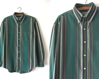Hunter Green Color Block Oxford Shirt - 90s Hip Hop Style Ivy League Striped Long Sleeve Button Down Shirt - Baggy Mens Small