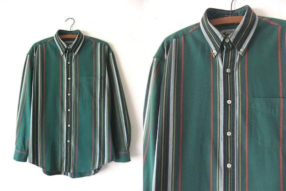 Hunter Green Color Block Oxford Shirt 90s Hip Hop Style Ivy
