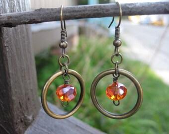 Orange Hoop and Gem Earrings / Topaz Earrings / Citrine Earrings / November Birthstone Earrings / Bronze Circle Earrings / Hoop Earring