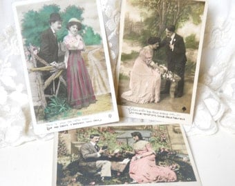 set of 3 antique postcards French postcards vintage postcards photograph postcards hand tinted romantic couple