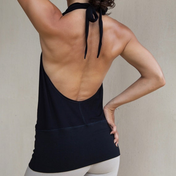 Open Back Halter Top - Backless Tank with Cowl Neck - Yoga Clothes