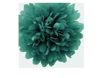 TEAL GREEN Tissue Paper Pom Poms (3)