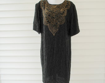 Exquisite beaded party dress - black and gold - ladies XL