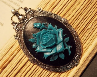 Turquoise and Black Rose Cameo Brooch