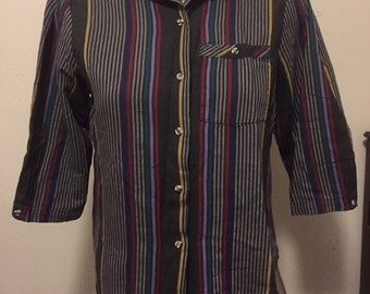 VINTAGE 1980's STRIPED 3/4 Length Sleeve Button Up Cotton SHIRT