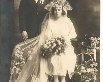 Beautiful Antique Photograph of Bride and Groom