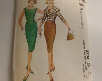Vintage McCalls 5734 Misses Sheath Dress and Jacket Size 14