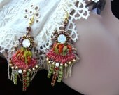 RESERVED Handmade Bead and silk embroidered earrings shabby chic red flower lace crystal seed beaded textil jewelry OOAK