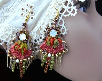 Handmade Bead and silk embroidered earrings shabby chic red flower lace crystal seed beaded textil jewelry OOAK