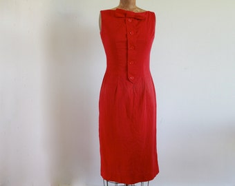 1960s Bow Tied Red Pencil Dress / Vintage 60s Wiggle Dress / Small