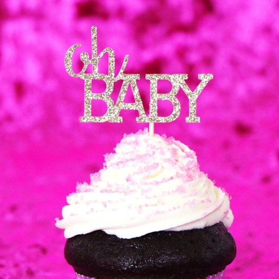 Gold Glitter Oh BABY Cupcake Toppers. Gender Reveal Party Decor. Baby Shower. Donut Picks. Party Supplies. Party Decor.
