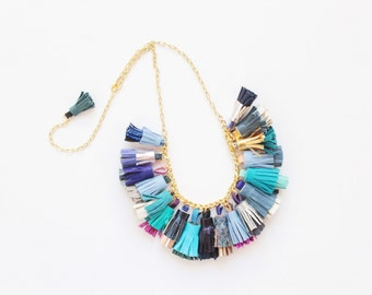 BOUQUET 62 / Mixed color natural leather tassel statement everyday necklace in blue shades - Ready to Ship