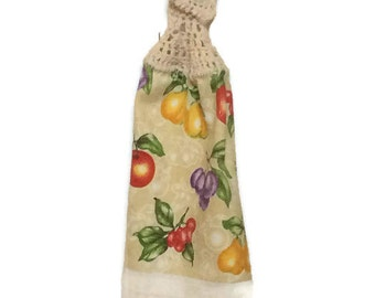 Clearance - Fruit - Hanging Kitchen Towel - Crochet Top - Button Towel