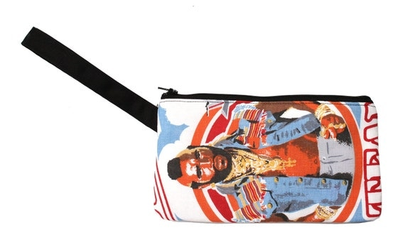 Mr. T, vintage fabric, wristlet, flat bag, small bag