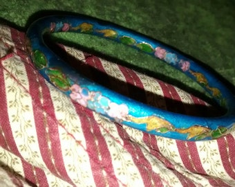 Cloisonne  Steel Blue Gold Pink Floral Enameled Bangle Bracelet