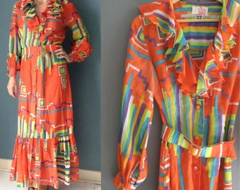 70s Bright Print Ruffled Maxi Dress