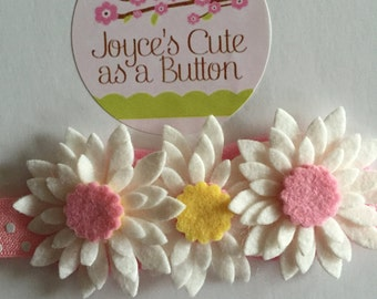 Pink with White Polka Dot Stretchy Hairbands with Beautiful Felt Flowers