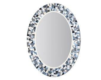 Blue and Gray Mirror / Oval Mosaic Mirror / Bathroom Decor / Mirror for Bathroom