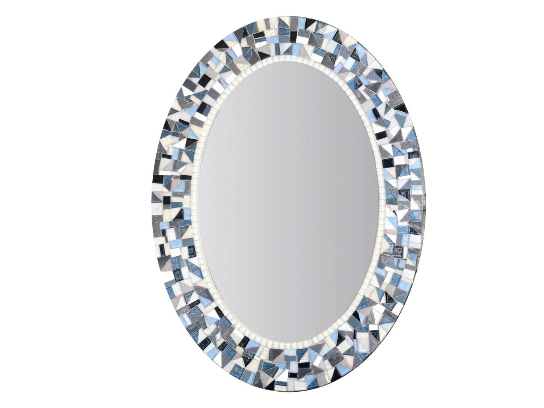 Blue And Gray Mirror Oval Mosaic Mirror Bathroom Decor
