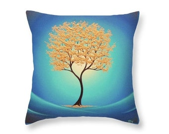 Gold Tree Pillow, Decorative Pillow, Gold and Blue Home Decor, Accent Pillow, Golden Tree Art Pillow, Nature Art Throw Pillow, Whimsical Art