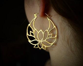 Lotus Flower Hoop Earrings - Shanti Hoops -Gold