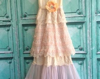 sale cream blush & pink ruffle chiffon boho princess dress by mermaid miss k