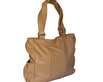 Camel Brown Leather Purse,  Fashion Leather Tote Bag, Women Shoulder Handbag with Outside Pockets, Katty