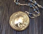 Antique Edwardian Round Floral Repousse Locket Necklace,  Paraiba Quartz Gemstone Chain