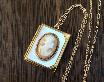 Vintage Book Shaped Shell Cameo Locket Necklace