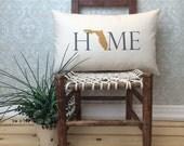 Florida Pillow, Long Pillow, Home Pillow, State Pillow, Home Decor, House Warming Gift, House Warming Pillow, Custom Pillow, Lumbar