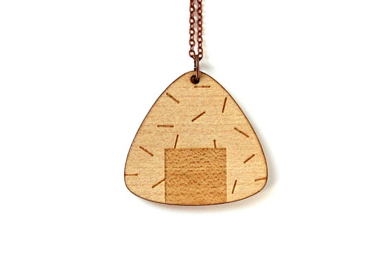 Onigiri necklace - Japanese food pendant - lasercut maple wood - graphic jewelry - kitsch jewellery - sushi - maki - asian food