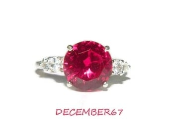 Ruby Ring, Sterling Silver Anniversary Ring, Ring With Side Stones
