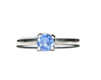 Rings On Sale, Tanzanite Simulate Ring, Sterling Silver Promise Ring