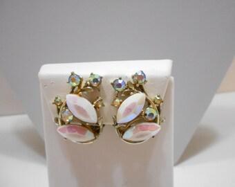 Vintage BSK Aurora Borealis Rhinestone Clip Earrings (4725BP)