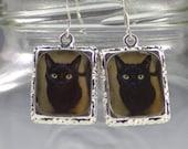 Black Cat Earrings Jewelry Silver Square Halloween Pet
