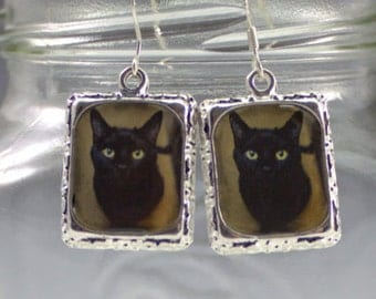 Black Cat Earrings Jewelry Silver Square Halloween Pet