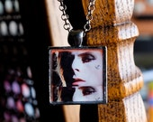 Velvet Goldmine - David Bowie necklace collage handmade resin photo pendant square gunmetal silver 70s Ziggy Stardust