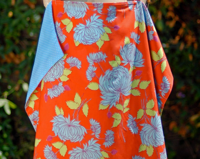Nursing Cover, Breastfeeding cover-up in Floral orange and aqua print, New Baby, New Mama Gift, Machine Washable