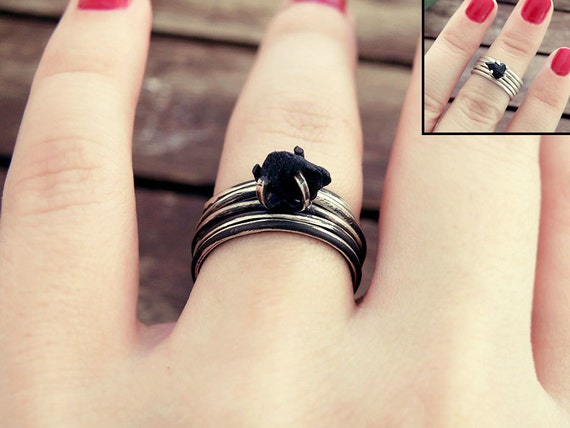 Stacking ring set Black onyx ring stackable rings