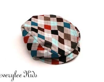 Argyle Newsboy Hat, Newsboy Cap for Boys, Golf Hat, Argyle Flat Cap, Driving Cap, Boys Golf Hat, Toddler Hat, Photo Prop