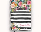 Personalized Planner 2016 2017 Calendar Agenda with Watercolor Floral on Black Stripes