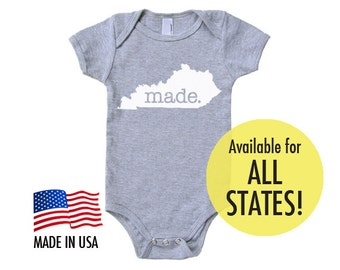 All States 'Made' Cotton Baby One Piece Bodysuit - Infant Girl and Boy American Apparel Baby Clothing