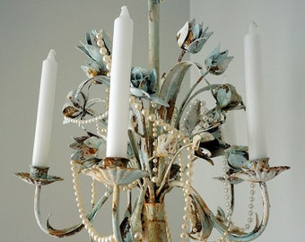 Toleware candelabra painted distressed blue rusty shabby cottage chic accented white candle holder hanging or table decor anita spero design