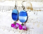 Blue Fuchsia Small Pearl earring / Simple Cute Jewelry / Gift for her