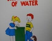Vintage 1957 School Poster    Health Series, Set 1 - Primary Grades    Drink Plenty of Wather    Hayes School Publishing    Wilkinsburg, PA